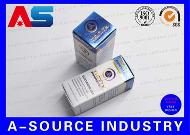 China Customize Carton 10ml Vial Boxes Gold Foil Embossed Metalic Blue Color UV Matt Printing supplier