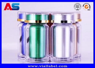 China Durable Acrylic Plastic Pill Pots 60CC Pharmacy Capsules Cylinder Bottle supplier