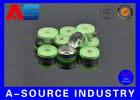 China 20mm Green Aluminum Flip Off Cap For 10mL Chemistry Pharmaceutical Vials / Bottle company