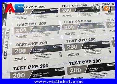China Adhesive Steroid Bottle Labels 10ml Custom Printing  , Testosterone Cypionate Labels factory