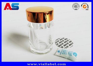 China Transparent Acrylic Plastic Pill Bottles With Gold Caps  , Empty Tablet Bottles distributor