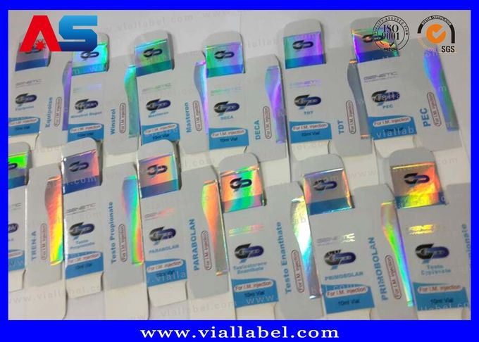 Medicine Storage 10ml Vial Boxes Testosterone Cardboard Hologram Laser Printing With Adhesive Label